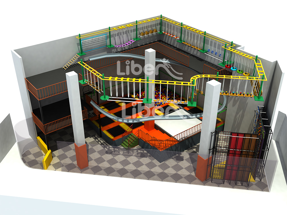 Indoor rope course with Roller Glider and trampoline