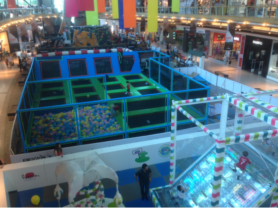 Trampoline park in shopping mall
