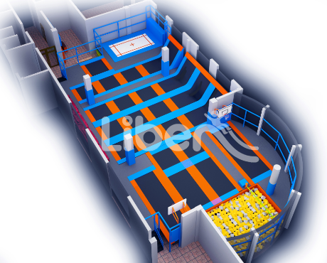 indoor trampoline 3D design drawing